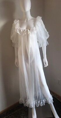 Vintage Tosca of California White Sheer Peignoir Robe Bridal Lingerie Size Large