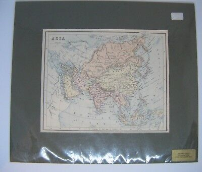 Antique Victorian circa 1880 Map of ASIA - with mount