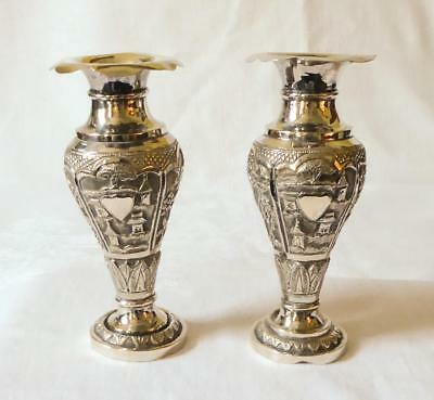 GOOD SIZED PAIR OF ANTIQUE LATE 19TH EARLY 20TH C INDIAN SILVER VASES 304g
