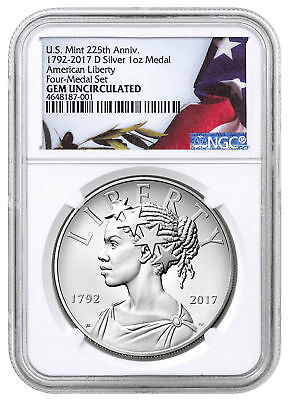 2017-D Liberty 225th Anniversary 1 oz Medal NGC GEM Uncirculated SKU52172
