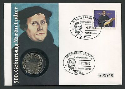BUND NUMISBRIEF 1990 RODENBERG MARTIN LUTHER LUTERO COIN COVER RARE !! h1530