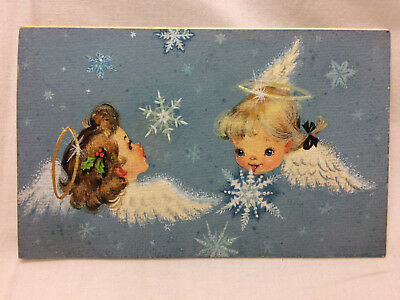 "Vintage 1956 Card Art Angels Wings Halos Snow Flakes 6"" X 3 3/4"" P. R. Bandel"