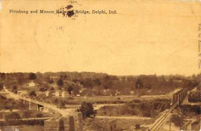 Delphi Indiana Pittsburg Monon Railroad Birdseye View Antique Postcard K84088