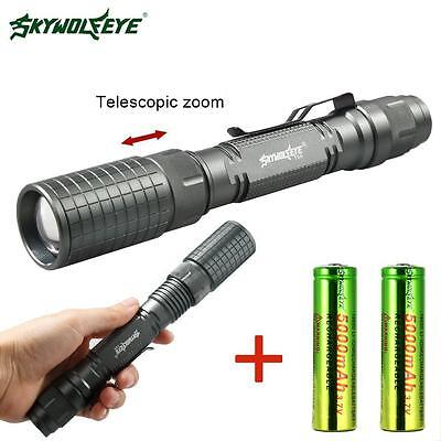 8000 LM CREE XM-L T6 LED Tactical Torch 5 Modes Camping Light+2x18650 Battery DI