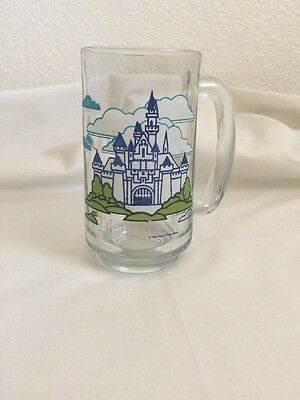 Walt Disney Disneyland Castle Clear Glass Mug Souvenir Beer