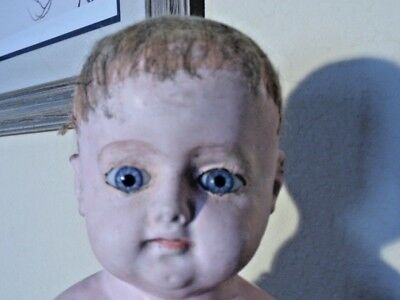 ~ As Found Larger Antique Wax Over Paper Mache Glass Eye Doll Head ~