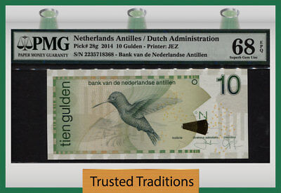 TT PK 28g 2014 NETHERLANDS ANTILLES / DUTCH ADMIN. 10 GULDEN PMG 68 EPQ 1 OF 2!