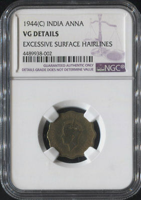 """Tt 1944(C) India 1 Anna """"king George Vi"""" Ngc Vg Details Surviving 74 Years!"""