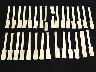 Lot Of 32 Pieces Vintage Antique Ivory Color Piano Keys Scrimshaw Art