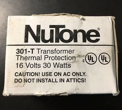 Nutone 301-T Transformer 16V 30W Thermal Protection NEW in Box