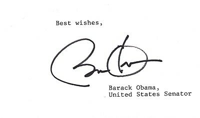 Barack Obama In-person Signature on Card from Senate years