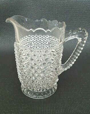 "Antique/Vintage Doyle EAPG Clear Glass Hobnail 8"" Tall Pitcher"