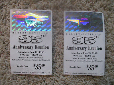 1998 Harley-Davidson 95th Anniversary Reunion Event Two 2 Ticket Stubs Souvenirs
