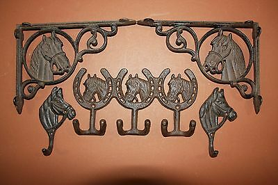 (5) Vintage-Look Horse Horseshoe Cast Iron Decor, Shelf Bracket, Wall Hook,brown