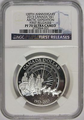2013 Canada 100th Anniversary Arctic Expedition Silver Dollar NGC PF 70 - JY050