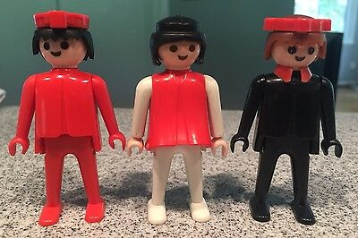 "Vintage 1974 Playmobil Lot of 3 People Figures Geobra Plastic 3"" Toys"