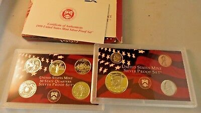 1999-S United States Mint Silver Proof 9 Coin Set with Original Box & COA