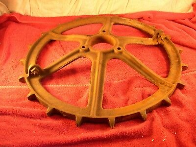 """Large Antique Cast Iron GEAR SteamPunk Table Base 21"""" PRIMITIVE Tractor HEAVY"""