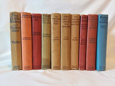 Lot of 10 vintage antique series children's hardcovers Hardy Boys X Bar X Boys
