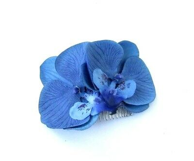 Large Royal Blue Orchid Flower Hair Comb Floral Fascinator Races Headpiece 5028
