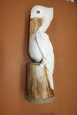 "(1), Hand-carved Wooden Pelican, Lanai Patio Pelican Decor, 20 1/2"", P-1"