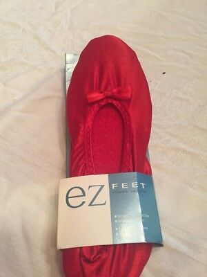 Women's Red Slippers by EZ Feet SZ 8-9 Indoor Outdoor Sole Extra Foam Cushion C