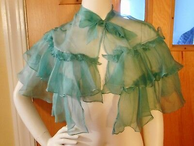ABSOLUTELY GORGEOUS - Antique EDWARDIAN Dress FLOWING Teal SILK FICHU CAPE