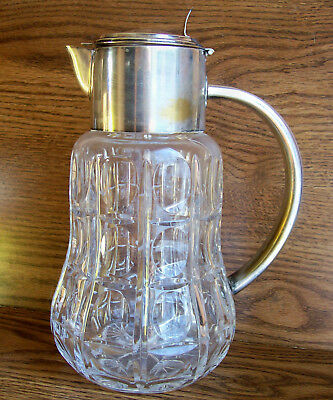 """vtg HEAVY GLASS THUMPRINT PITCHER w SILVERPLATE TOP 9"""" Made in West Germany"""