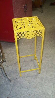 Vintage Wrought Iron Metal Outdoor Plant Stand Table Lawn Garden Patio Yellow