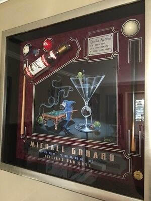 "Michael Godard ""Pool Shark II"" Seal of Authenticity Framed Shadowbox Art"