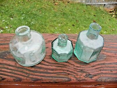 3-C1890 English Ink Pots-All Different-Two Have Shear Lips.
