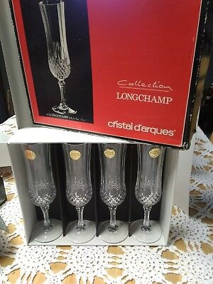 4 Cristal D'Arques Longchamp Collection 5oz Champagne Flutes
