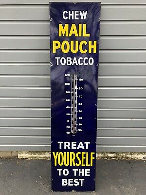 Vintage 1936 Mail Pouch Tobacco 6 Foot Tall Advertising Porcelain Thermometer