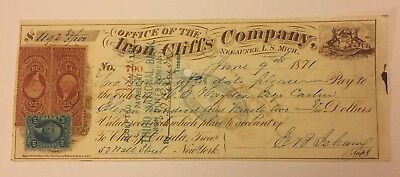 1871 Negaunee, Michigan Iron Cliffs Mining Co. E.B. Isham Unusual Revenue Stamps