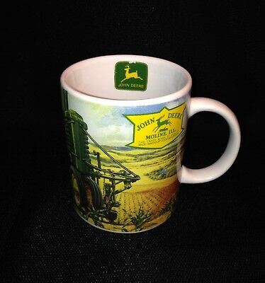 John Deere Mug Cup. Dad Eating While Watching Son And Dog On The Tractor -Usa