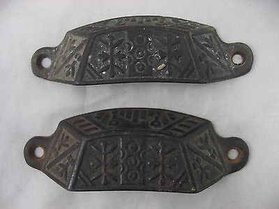 Drawer Cup Handle Nice Ornate Handles Vintage Cast Iron Pair, Desk Pull