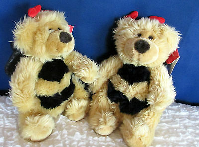 """Russ Breezy Two Toy Teddy Bears Winged Bumble Bee Heart Antennae with Tags 10"""""""