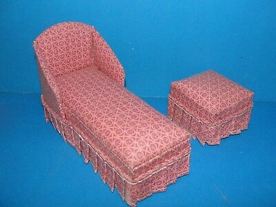 Dollhouse Chaise lounge sofa and ottoman set lot