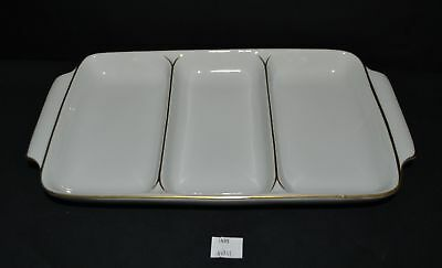 ThriftCHI ~ Andrea by Sadek Ceramic Three Sectioned Serving Dish w Gold Accents