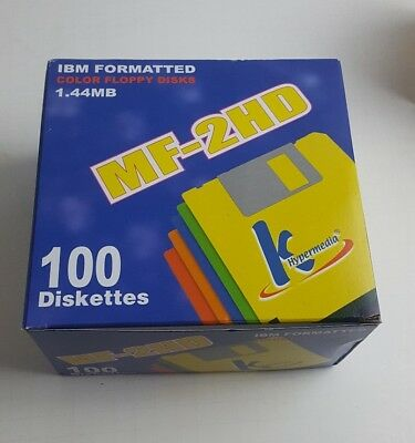 QTY-100, K HyperMedia MF-2HD IBM Formatted Floppy Diskettes Disks 1.44 MB