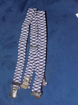 Boy's Braces / Boys Suspenders -no card-NAVY BLUE & RED  SIZE 5-7