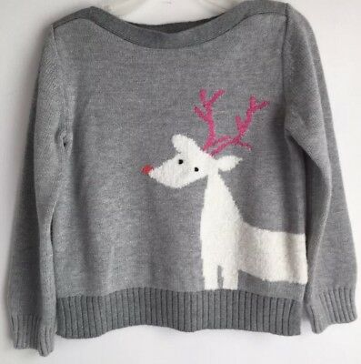 Baby Gap Kids Girls Holiday Grey Reindeer Knit Sweater Size 3T NWT