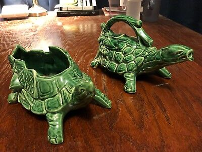 Vintage 1940's-50's McCoy Art Pottery Green Turtle Handled Sprinkler and Planter