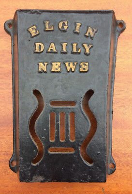 DAILY NEWS ELGIN ILLINOIS Antique Cast Iron News paper Mail Box Mail holder