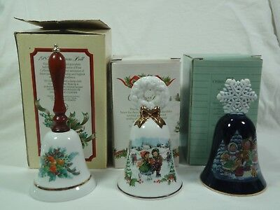 Lot of 3 Vintage Avon Porcelain Christmas Bells 1985, 1986, & 1987 with Boxes