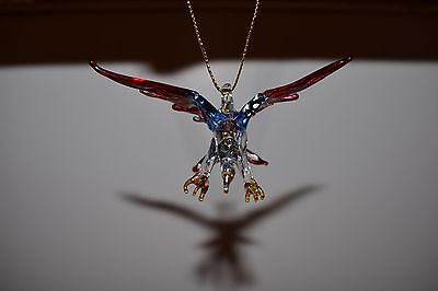 Hanging American Eagle Figurine of Blown Glass Crystal