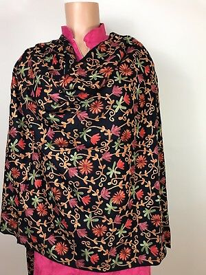 $25 Pashmina  Hand-Embroidered  Kashmiri Shawl Embroidered  Indian  Stole Navy
