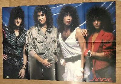 Vintage 1980s Kiss Bret Michaels Huge double sided Magazine Poster 21x31