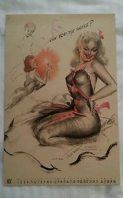 "Earl MacPherson Pin Up Calendar Page November 1944 ""Artist's Sketch Pad"""