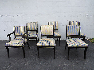 Dinning Chairs Set of Six Painted Black with Gold Highlights  7983